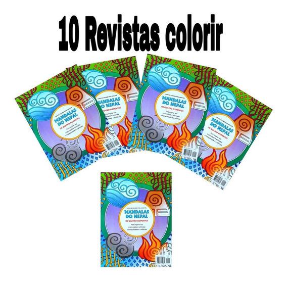 10 Revistas Colorir Anti Estresse,mandalas Do Nepal.