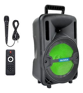 Parlante Portátil Bluetooth Radio Fm Luces Led + Microfono