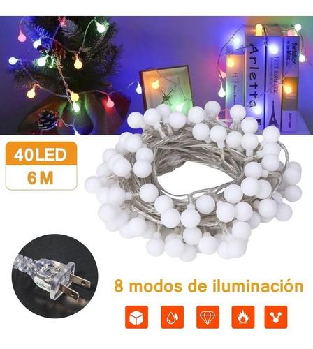 Serie Led Luces Globo 6m 40led Navidad Decorativas Luz
