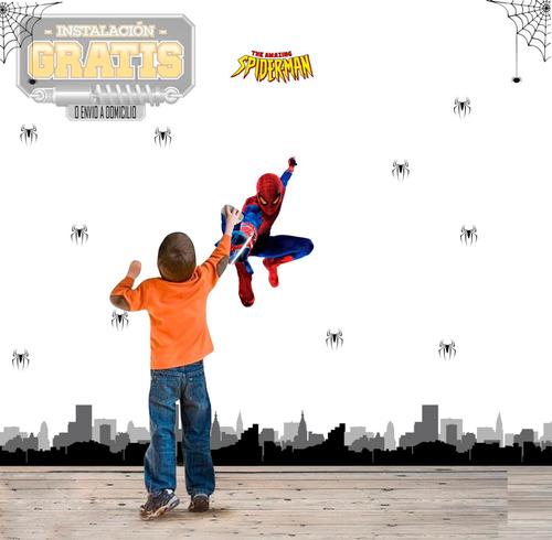 Vinilo Decora Infantil Niños Spiderman Hombre Araña +instala