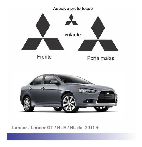 Imagem 1 de 1 de Adesivo Preto Fosco Para Emblemas Mitsubishi Lancer 2011+
