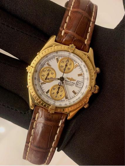 Breitling Chronomat Gt Ouro Amarelo , Couro , Promocao!