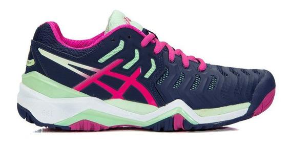 Tênis Asics Gel Resolution 7 Marinho Pink E Verde