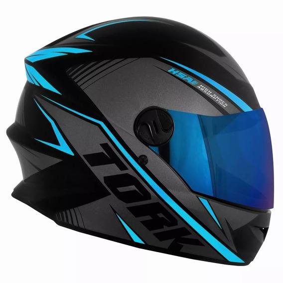 Capacete Moto Feminino Masculino Fechado R8 Viseira Azul Iridium Pro Tork