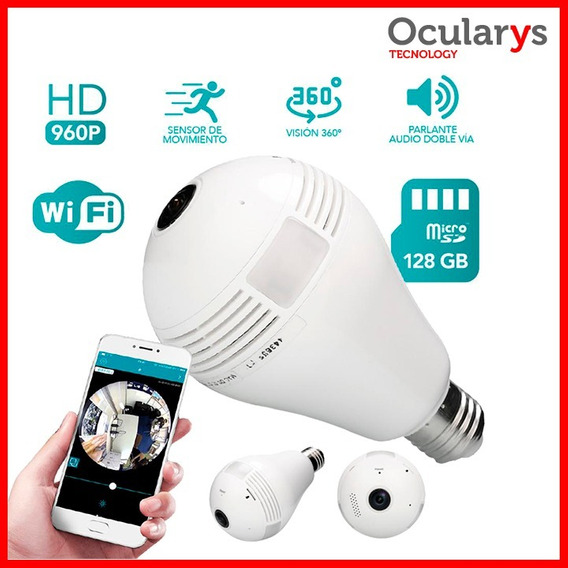 Camara Espia Wifi 360° Lampara Ip Parlante Sd Movimiento