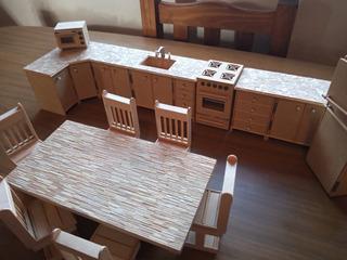 Juego De Cocina-fibrofacil-madera-casa De Muñecas-artesanal