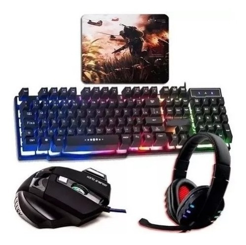 Kit Gamer Pc Barato Teclado Semi-mecânico + Mouse + Headset