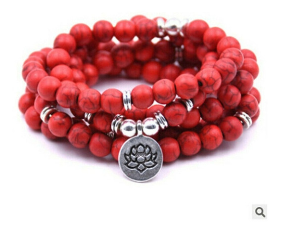 Japamala Turquesa Vermelha Pedras Naturais 6mm 108 Contas