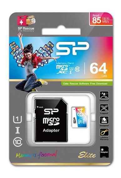 Silicon Power Micro Sd 64gb Clase 10 Uhs-1 Sd Elite Color