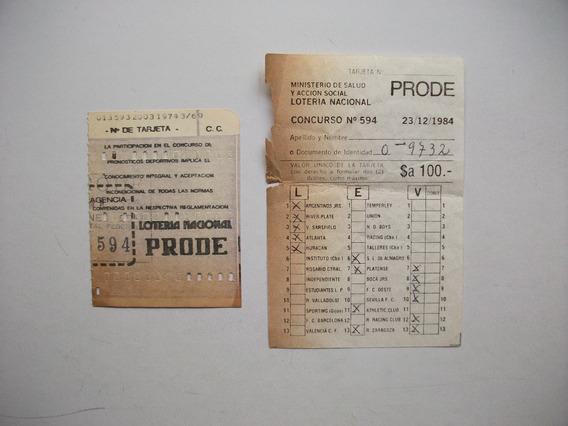 Antiguas Tarjetas Del Prode Del Año 1984