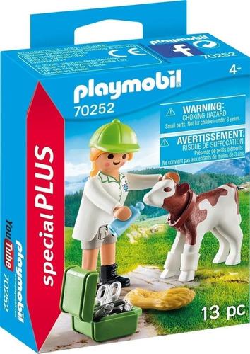 Imagen 1 de 6 de Playmobil Veterinaria Con Ternero Animal Special Plus 70252