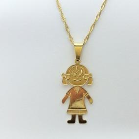 Colar Uma Menina Banhado A Ouro 18 K