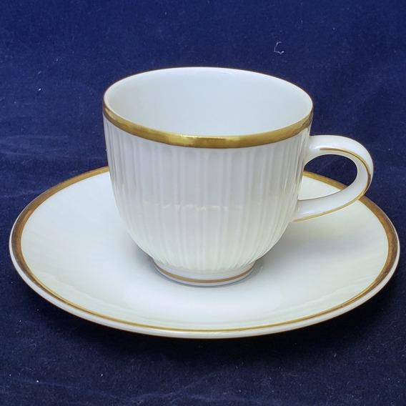 6 Tazas Y Platos De Cafe Porcelana Tsuji Borde Dorado Sello