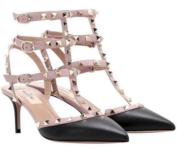 Sapato Feminino Preto 35 6,5 Cm Marca Grife Famosa Tachas