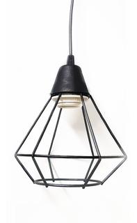 Colgante Jaula 1 Luz Negro Texturado C 1003