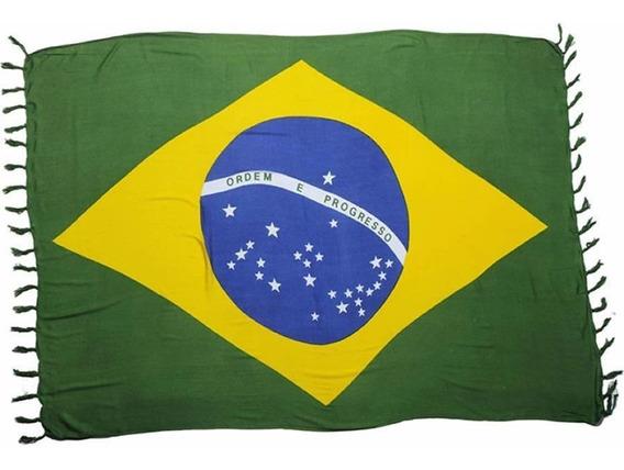 Canga De Praia Estampa Bandeira Do Brasil 100% Viscose Linda