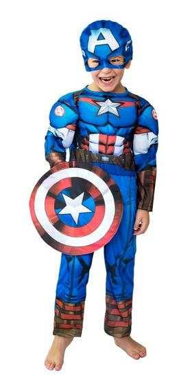 Disfraz Capitan America Con Musculo Marvel Original New Toys