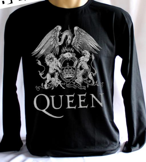 Camisa Da Banda Queen Manga Longa Malha 100% Algodão