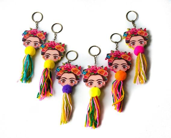Pack 6 Llaveros Colgante Bolsa Mujer Frida Kahlo Ponpon