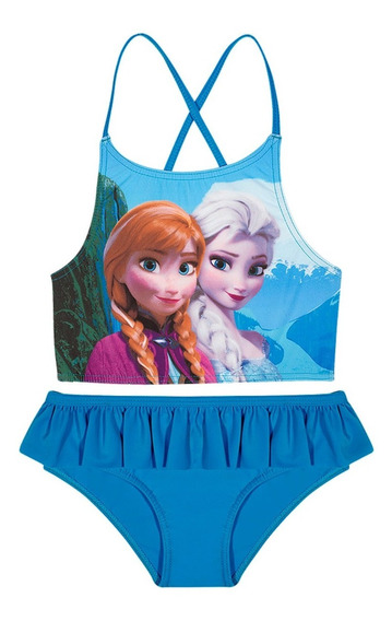 Biquíni Infantil Cropped Tirinhas Azul Frozen Disney Tip Top