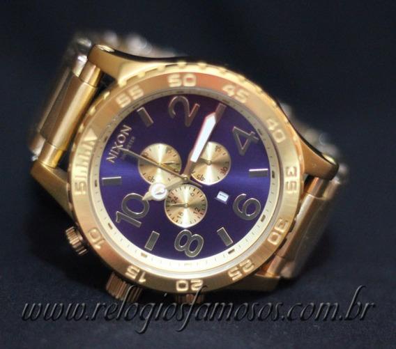 Relógio Yt65 Nixon 51-30 Azul Chrono Gold Banhado Ouro 18k