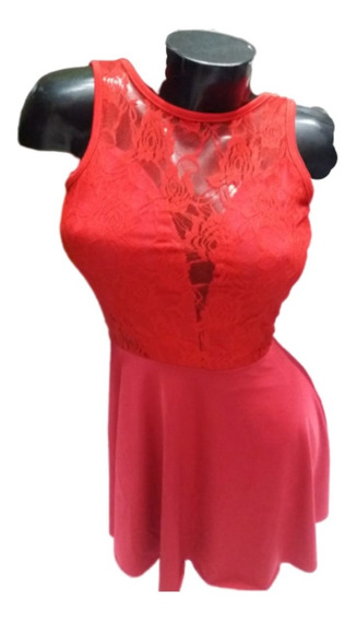 Vestido De Microfibra Y Lycra Con Encaje