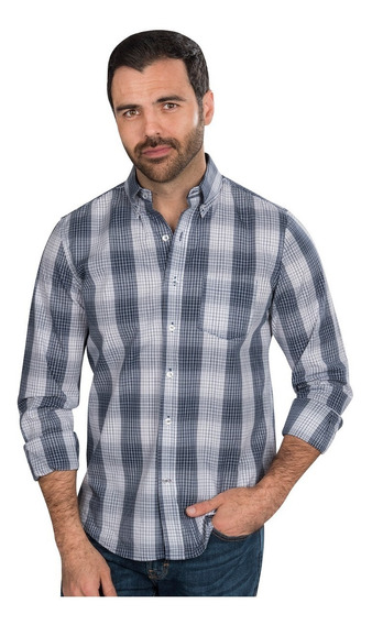 Camisa Hombre Cuadros Casul Azul Marino Slim Fit Moda 90102