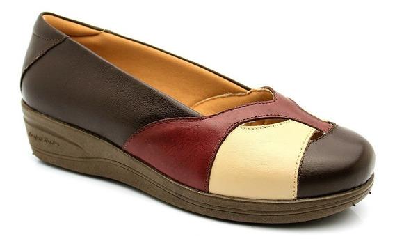 Sapato Feminino Anabela 194 Em Couro Café/bege/petrus Doctor