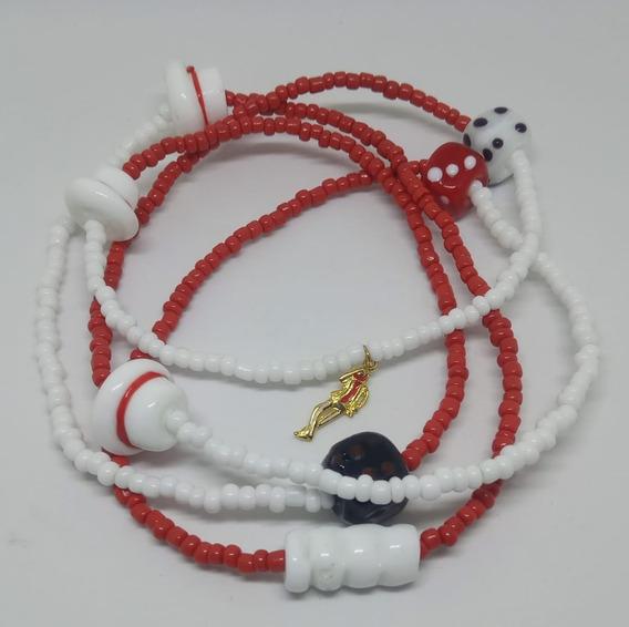 Guia Zé Pilintra Miçangas Cristal Vermelha E Branca 2,33mm Com Pingente