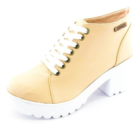 Bota Coturno Quality Shoes Feminina Bege