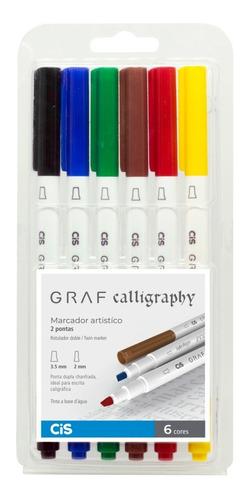 Caneta Calligraphy Cis Graf Duo Ponta Dupla C/06 Cores