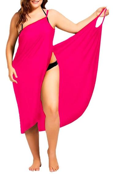 Plus Vestido Envolvente Playero Licra Dryfit Pareo Playa