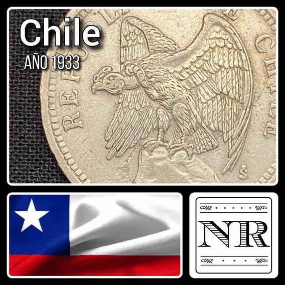 Chile - 1 Peso - Año 1933 - Km #176.1 - Condor - Cuproniquel