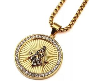 Corrente Colar Amuleto Maçonaria Banhado A Ouro