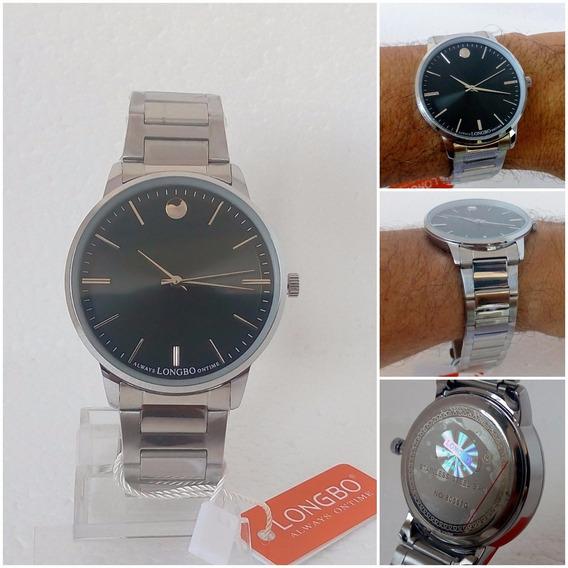 Relógio Masculino Longbo Original Social Luxo Vip Prateado
