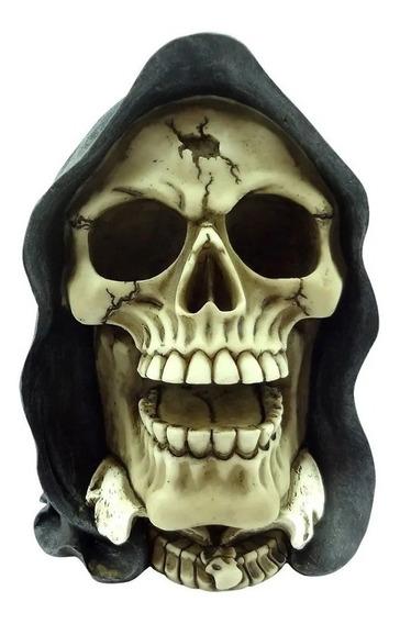 Caveira Decorativa Resina Skeletor Cap Azul 17cm Skull