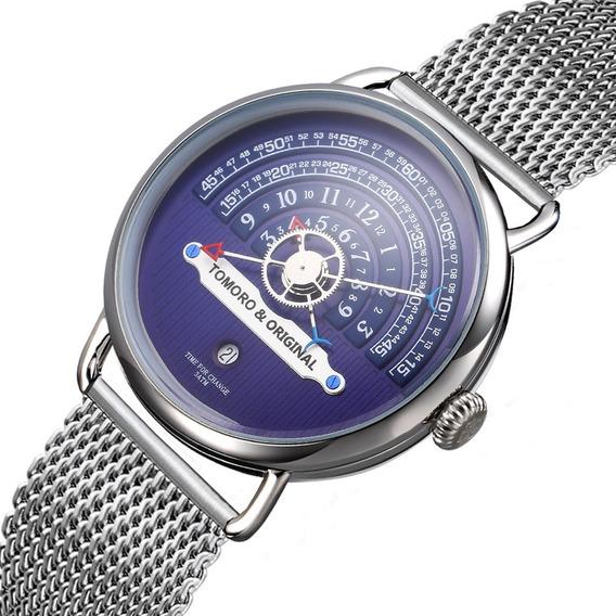 Relógio Inox Pulso Azul Masculino Tomoro + Barato + Promoção