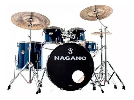 Bateria Acústica Nagano Garage Rock 22 Blue Com Ferragens