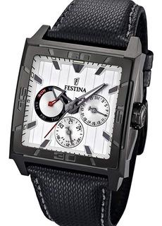 Reloj Festina F16569 Multifunción Acero Pvd Malla De Cuero