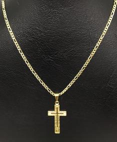 Cordão Corrente Masculino Folheada A Ouro 18k 70cm Ping Cruz