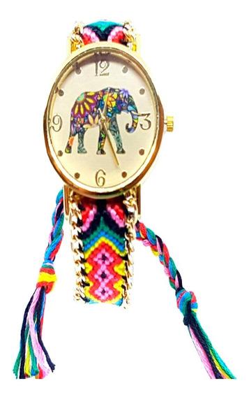 Relógio Feminino Retro Vintage Dourado Colorido Elefante