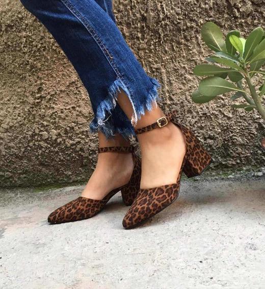 Zapatillas Cerrada Tacón Cuadrado Animal Print Moda Leopardo
