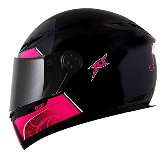 Capacete Fechado Rt501 Evo Love Preto E Rosa Race Tech