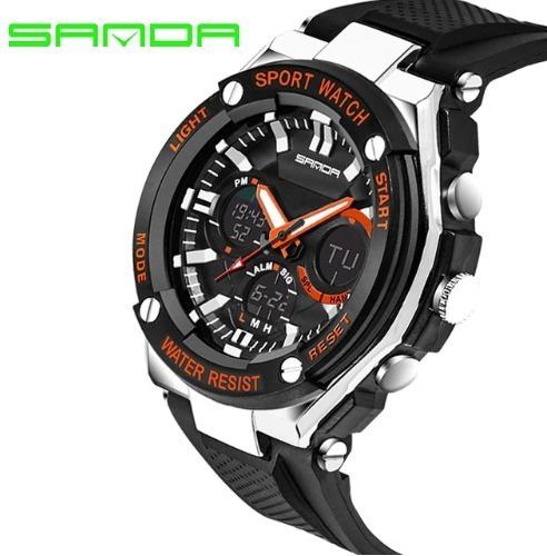 Relógio De Pulso Sanda 733 Preto Laranja Original Importado