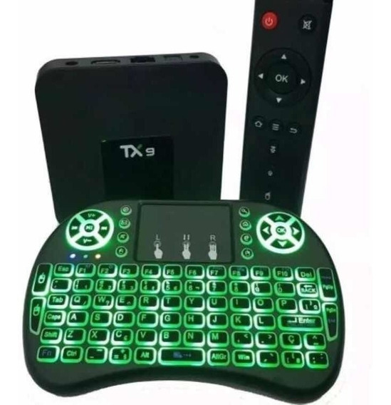 Conversor Smart Tv Box Tx9 02/16gb Android 8.1 E Teclado Led