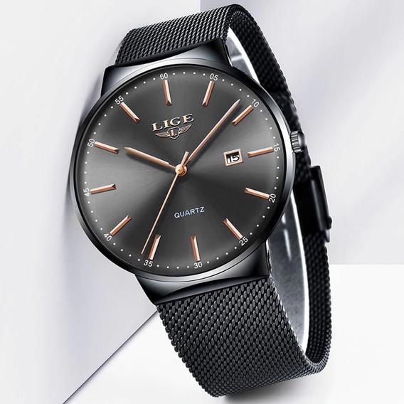Relógio Masculino Lige Ultrafino Pulseira Malha Prova D