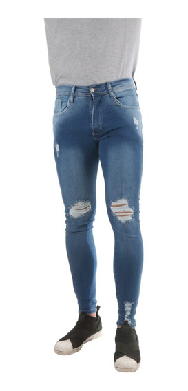 Jean Hombre Impacto Jeans Roturas Elastizado