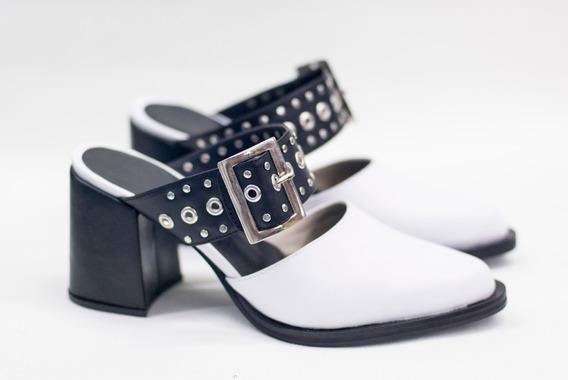 Zapatos Zuecos Con Pulsera Abiertos Cuero