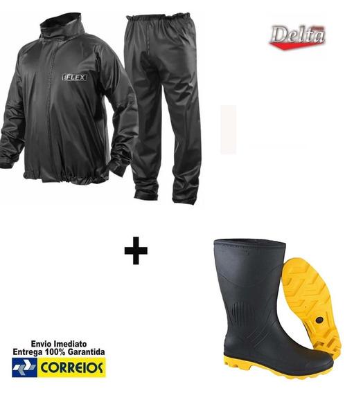 Capa De Chuva Delta + Bota Moto Motoqueiro Motoboy Borracha