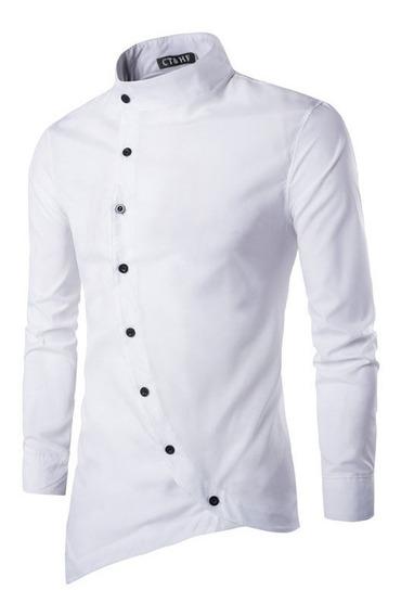 Camisa , Estilo Oriental Cuello Mao Slim